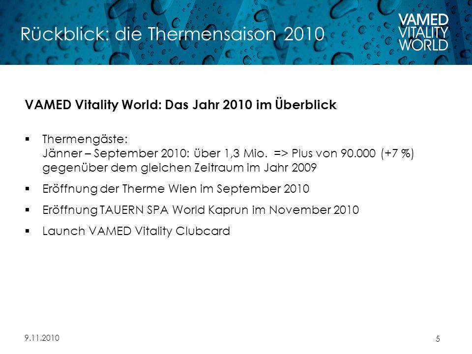 9.11.2010 5 Rückblick: die Thermensaison 2010 VAMED Vitality World: Das Jahr 2010 im Überblick  Thermengäste: Jänner – September 2010: über 1,3 Mio.