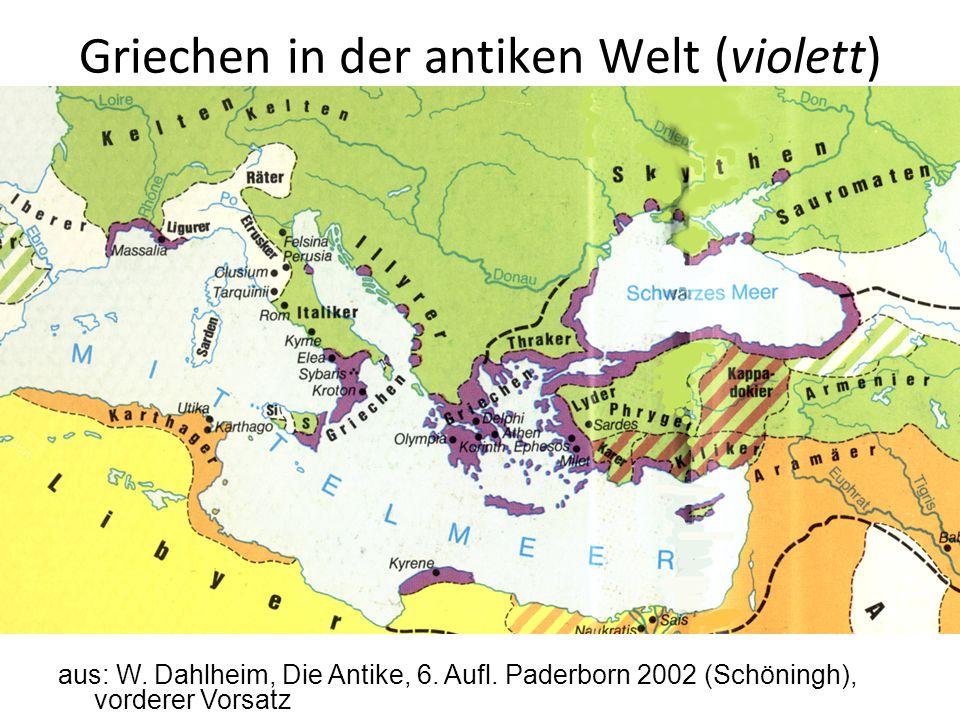 Griechen in der antiken Welt (violett) aus: W. Dahlheim, Die Antike, 6. Aufl. Paderborn 2002 (Schöningh), vorderer Vorsatz