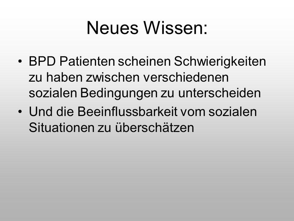 Neues Wissen: BPD Patienten scheinen Schwierigkeiten zu haben zwischen verschiedenen sozialen Bedingungen zu unterscheiden Und die Beeinflussbarkeit v