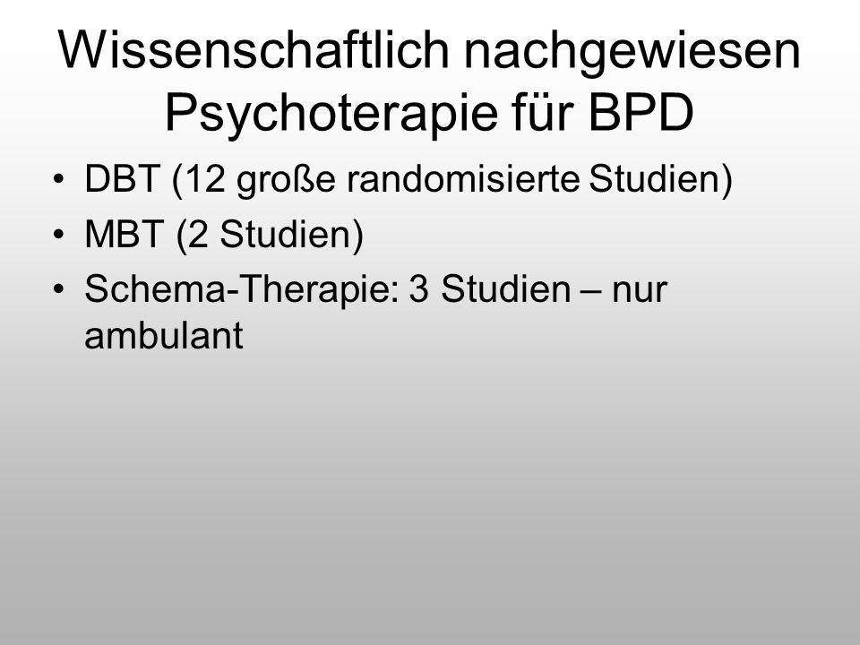 Wissenschaftlich nachgewiesen Psychoterapie für BPD DBT (12 große randomisierte Studien) MBT (2 Studien) Schema-Therapie: 3 Studien – nur ambulant