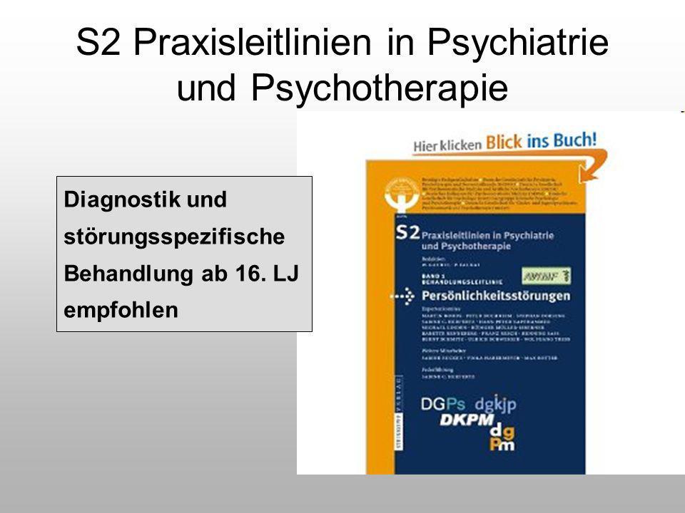 S2 Praxisleitlinien in Psychiatrie und Psychotherapie Diagnostik und störungsspezifische Behandlung ab 16. LJ empfohlen
