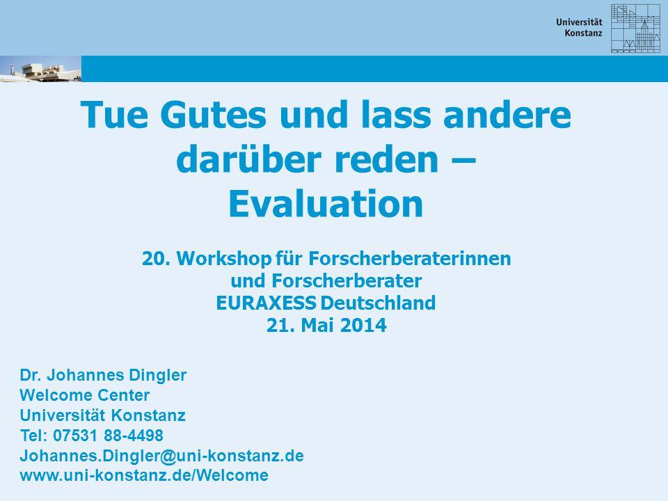 Tue Gutes und lass andere darüber reden – Evaluation 20. Workshop für Forscherberaterinnen und Forscherberater EURAXESS Deutschland 21. Mai 2014 Dr. J