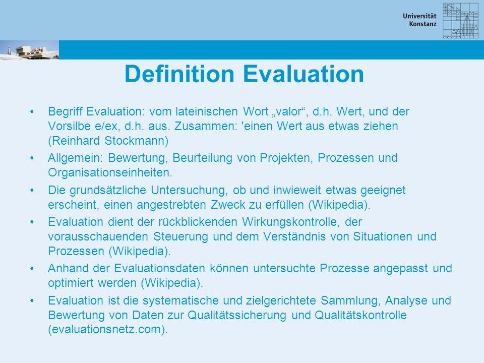 """Definition Evaluation Begriff Evaluation: vom lateinischen Wort """"valor"""", d.h. Wert, und der Vorsilbe e/ex, d.h. aus. Zusammen: 'einen Wert aus etwas z"""