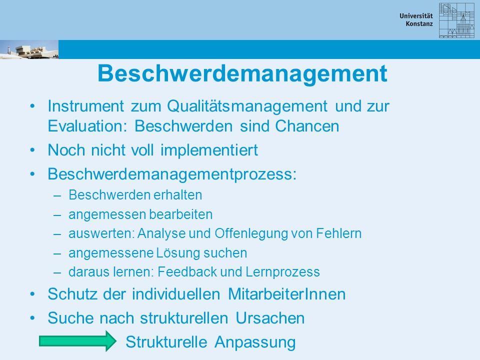 Beschwerdemanagement Instrument zum Qualitätsmanagement und zur Evaluation: Beschwerden sind Chancen Noch nicht voll implementiert Beschwerdemanagemen
