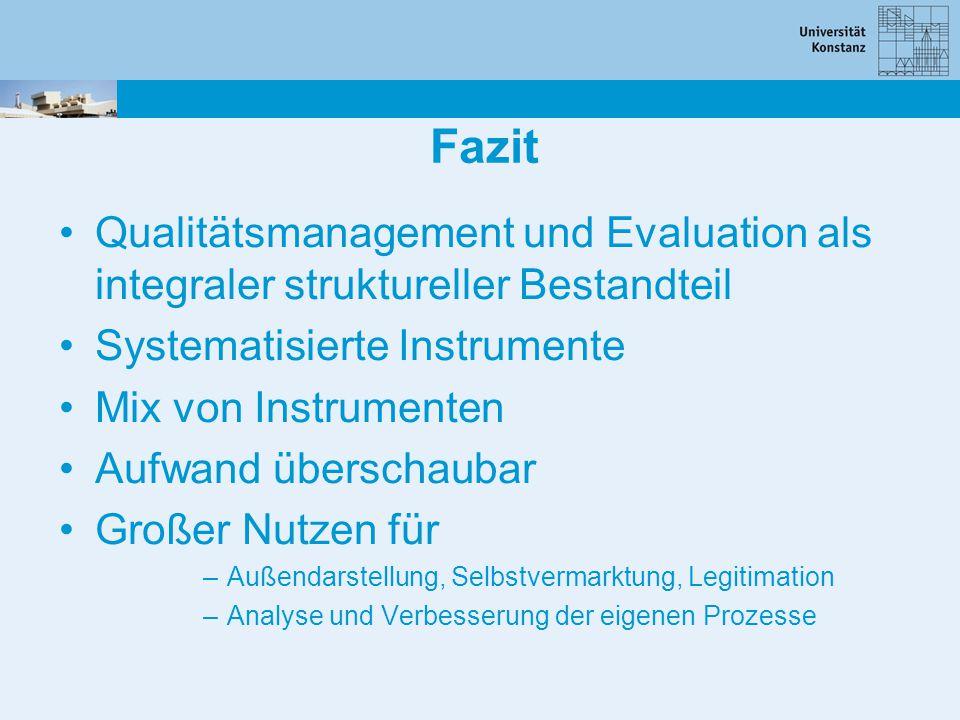 Fazit Qualitätsmanagement und Evaluation als integraler struktureller Bestandteil Systematisierte Instrumente Mix von Instrumenten Aufwand überschauba