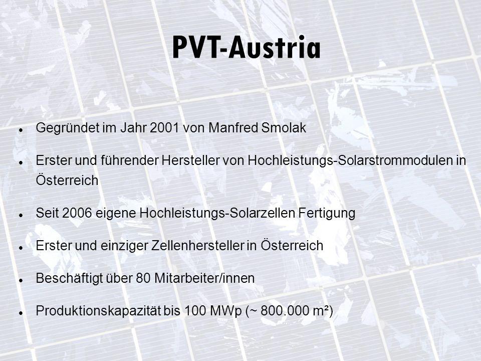 Gegründet im Jahr 2001 von Manfred Smolak Erster und führender Hersteller von Hochleistungs-Solarstrommodulen in Österreich Seit 2006 eigene Hochleistungs-Solarzellen Fertigung Erster und einziger Zellenhersteller in Österreich Beschäftigt über 80 Mitarbeiter/innen Produktionskapazität bis 100 MWp (~ 800.000 m²) PVT-Austria