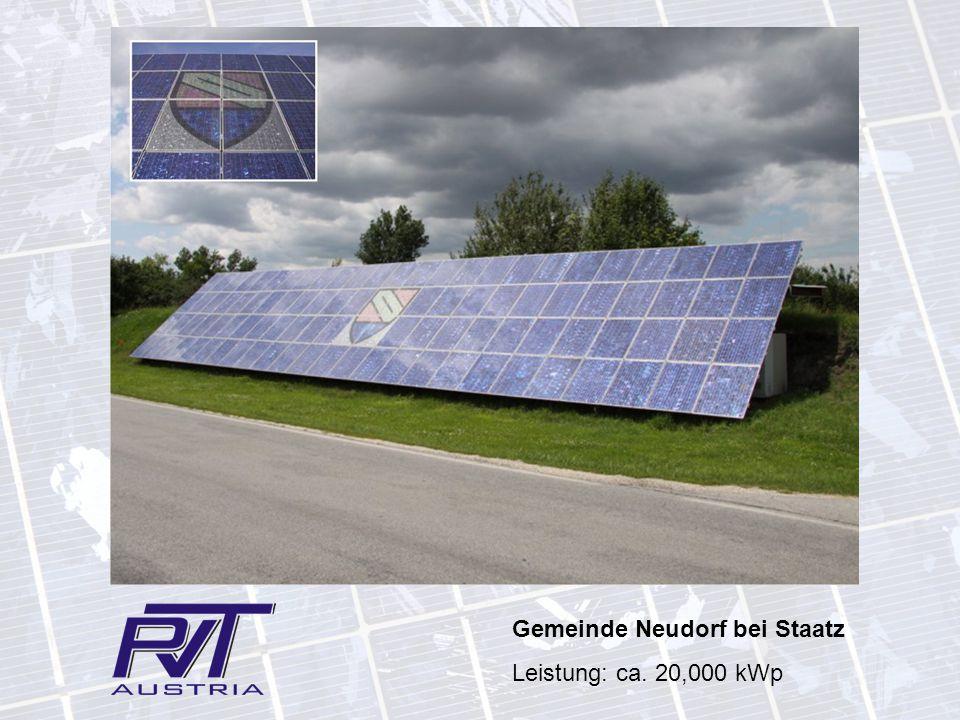 Gemeinde Neudorf bei Staatz Leistung: ca. 20,000 kWp