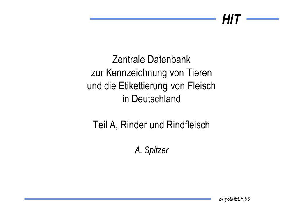 HIT BayStMELF, 98 Zentrale Datenbank zur Kennzeichnung von Tieren und die Etikettierung von Fleisch in Deutschland Teil A, Rinder und Rindfleisch A.