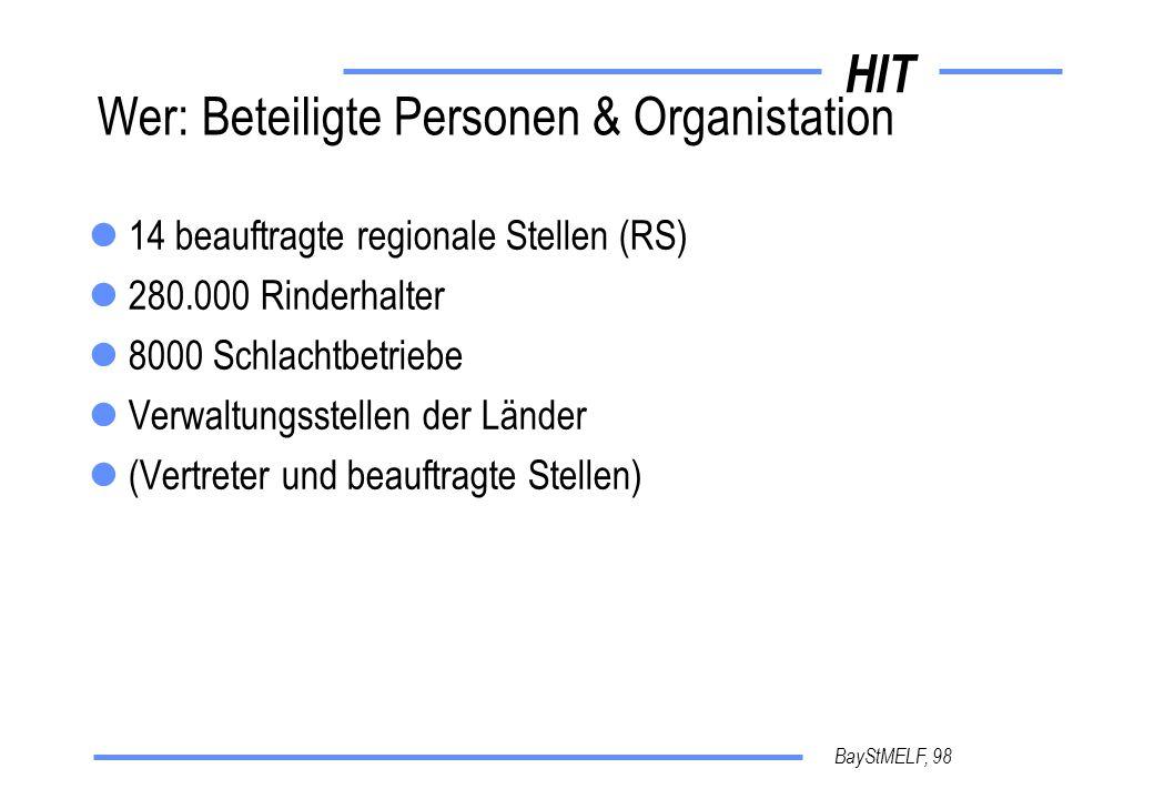 HIT BayStMELF, 98 Wer: Beteiligte Personen & Organistation 14 beauftragte regionale Stellen (RS) 280.000 Rinderhalter 8000 Schlachtbetriebe Verwaltungsstellen der Länder (Vertreter und beauftragte Stellen)