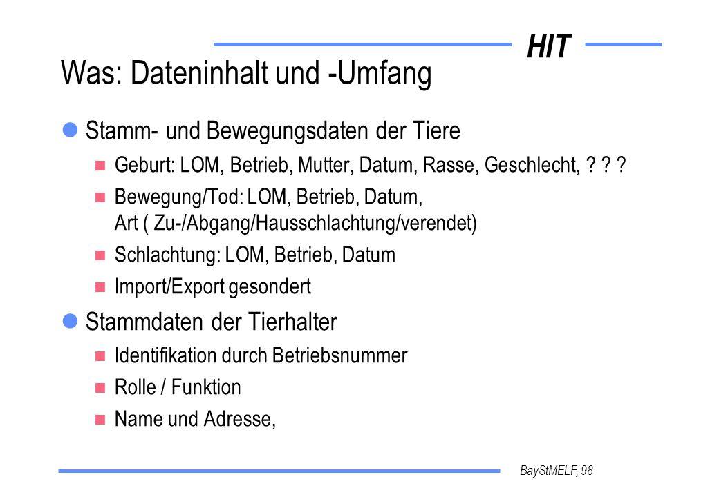 HIT BayStMELF, 98 Was: Dateninhalt und -Umfang Stamm- und Bewegungsdaten der Tiere Geburt: LOM, Betrieb, Mutter, Datum, Rasse, Geschlecht, .