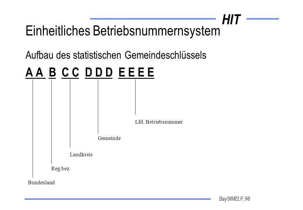 HIT BayStMELF, 98 Einheitliches Betriebsnummernsystem Aufbau des statistischen Gemeindeschlüssels A A B C C D D D E E E E Bundesland Reg.bez.