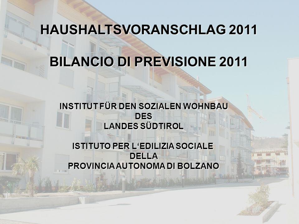 INSTITUT FÜR DEN SOZIALEN WOHNBAU DES LANDES SÜDTIROL ISTITUTO PER L'EDILIZIA SOCIALE DELLA PROVINCIA AUTONOMA DI BOLZANO HAUSHALTSVORANSCHLAG 2011 BILANCIO DI PREVISIONE 2011