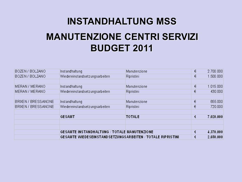 INSTANDHALTUNG MSS MANUTENZIONE CENTRI SERVIZI BUDGET 2011