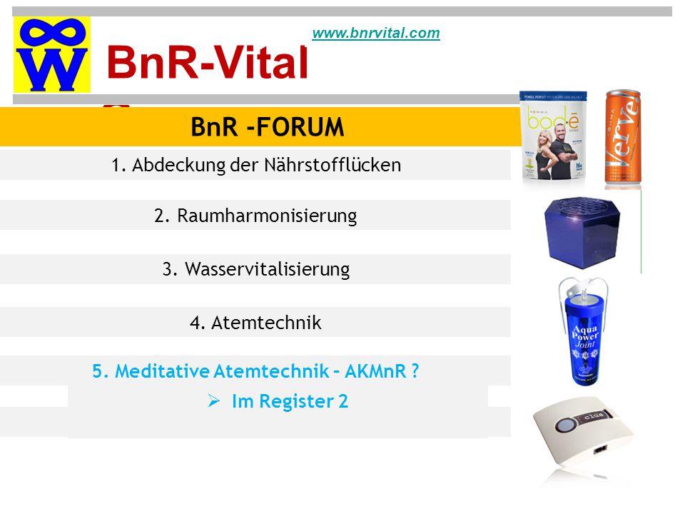 BnR-Vital Group www.bnrvital.com BnR -FORUM 1.Abdeckung der Nährstofflücken 2.