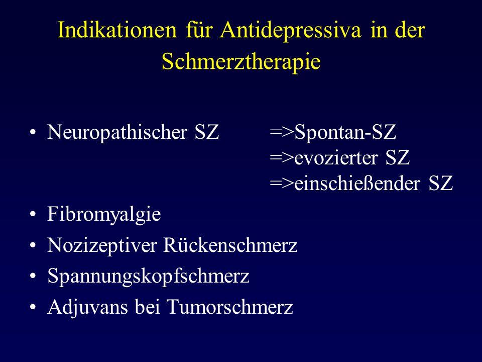 Indikationen für Antidepressiva in der Schmerztherapie Neuropathischer SZ =>Spontan-SZ =>evozierter SZ =>einschießender SZ Fibromyalgie Nozizeptiver R
