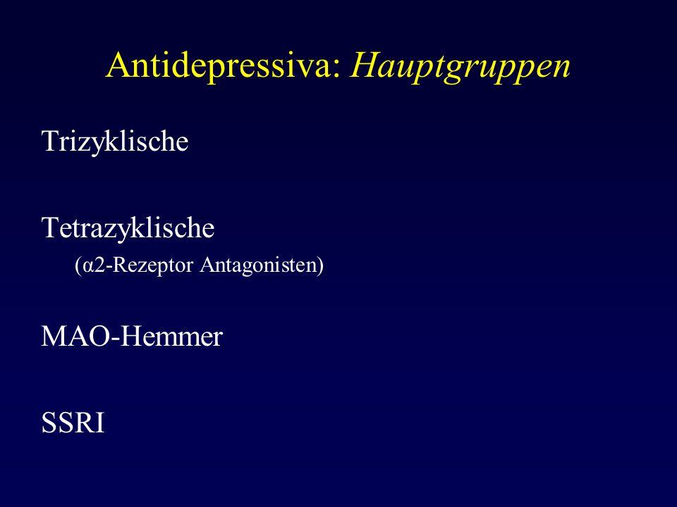 Antidepressiva: Hauptgruppen Trizyklische Tetrazyklische (α2-Rezeptor Antagonisten) MAO-Hemmer SSRI