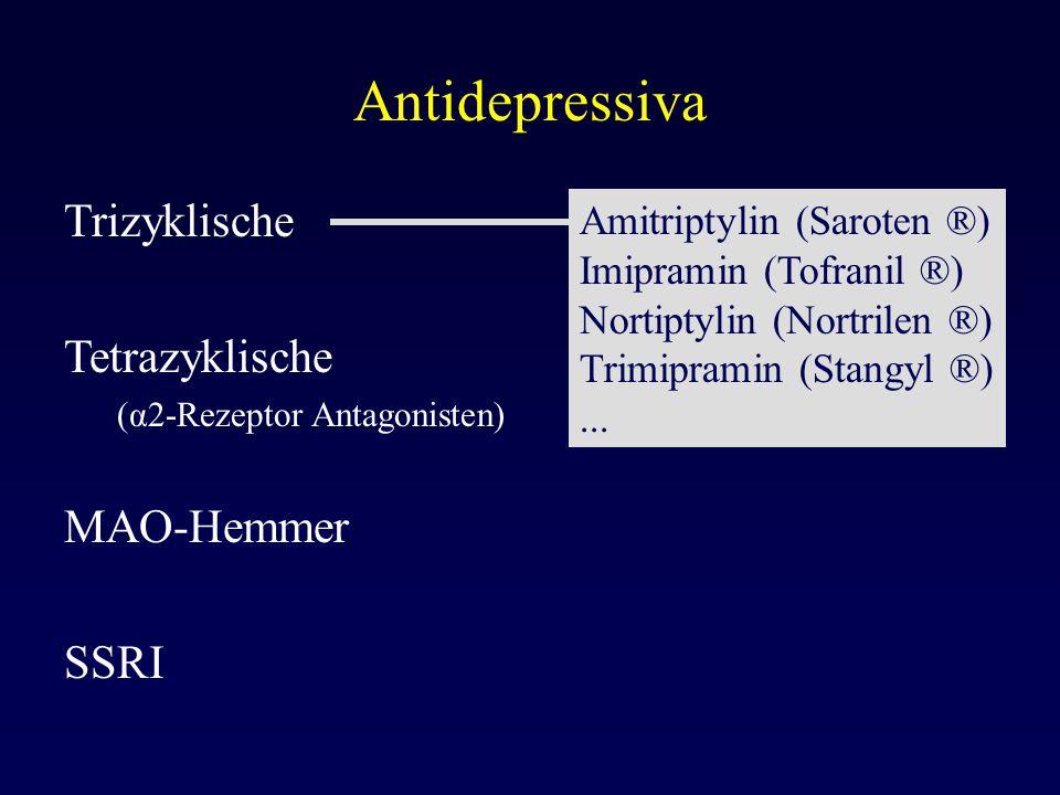 Antidepressiva Trizyklische Tetrazyklische (α2-Rezeptor Antagonisten) MAO-Hemmer SSRI Amitriptylin (Saroten ®) Imipramin (Tofranil ®) Nortiptylin (Nor