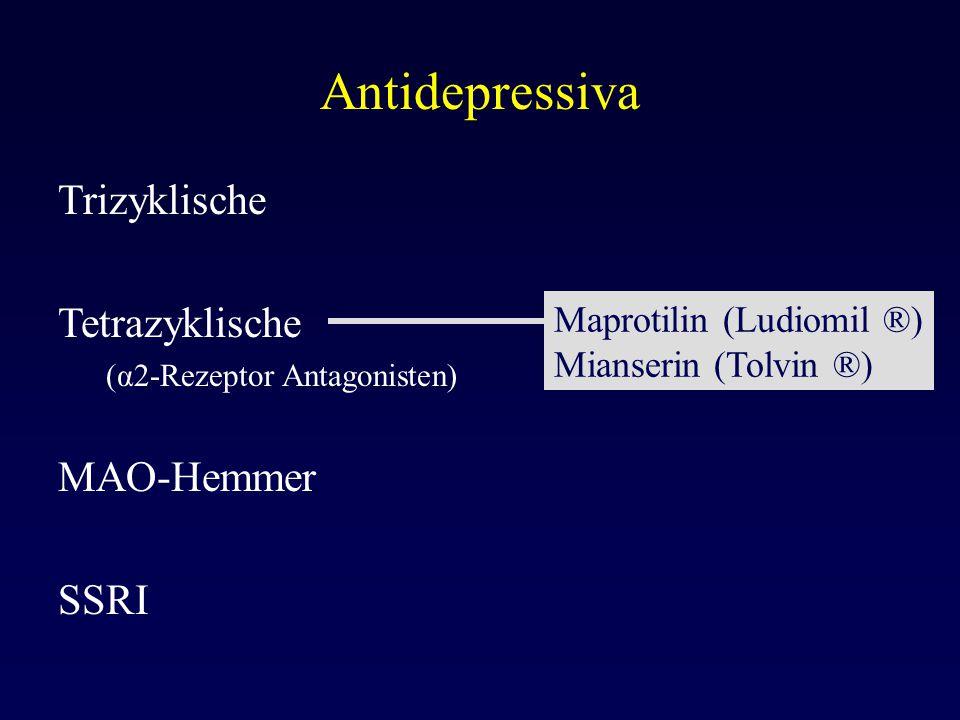 Antidepressiva Trizyklische Tetrazyklische (α2-Rezeptor Antagonisten) MAO-Hemmer SSRI Maprotilin (Ludiomil ®) Mianserin (Tolvin ®)
