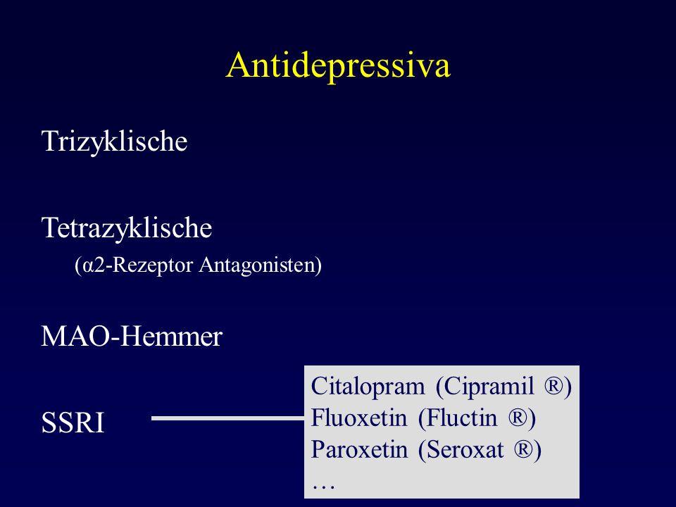 Antidepressiva Trizyklische Tetrazyklische (α2-Rezeptor Antagonisten) MAO-Hemmer SSRI Citalopram (Cipramil ®) Fluoxetin (Fluctin ®) Paroxetin (Seroxat