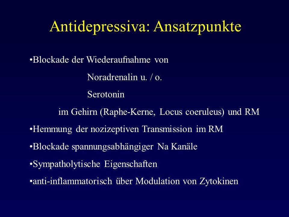 Antidepressiva: Ansatzpunkte Blockade der Wiederaufnahme von Noradrenalin u. / o. Serotonin im Gehirn (Raphe-Kerne, Locus coeruleus) und RM Hemmung de