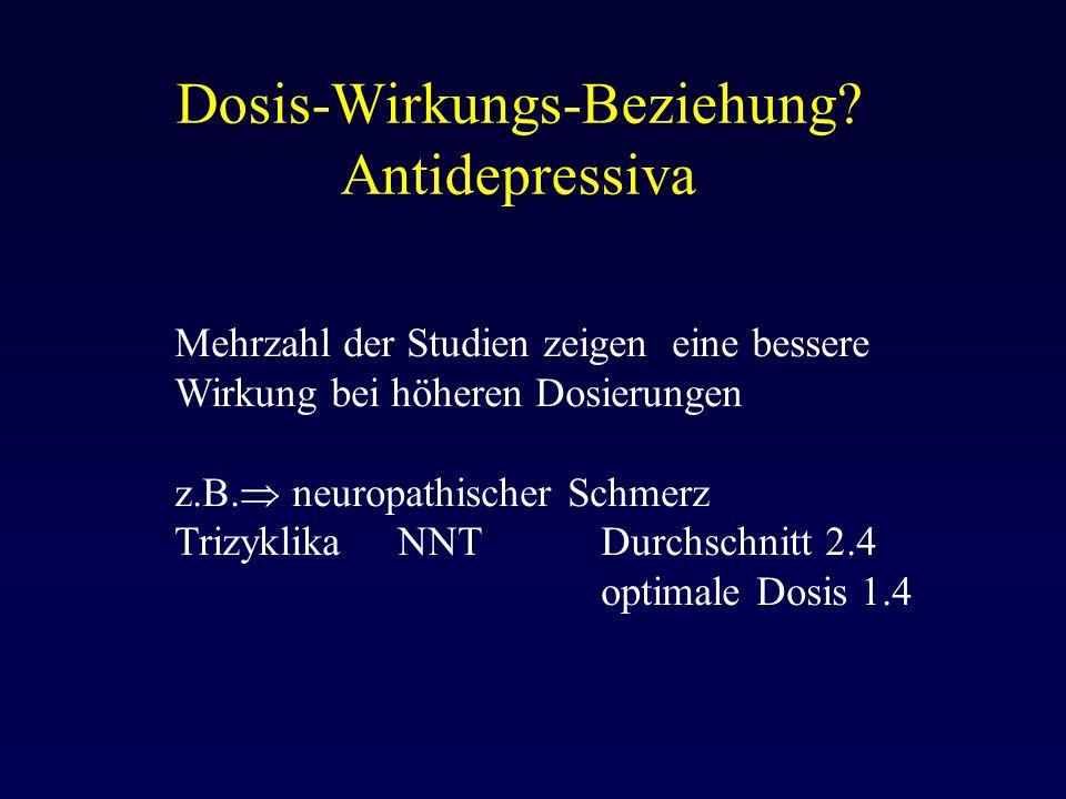 Dosis-Wirkungs-Beziehung? Antidepressiva Mehrzahl der Studien zeigen eine bessere Wirkung bei höheren Dosierungen z.B.  neuropathischer Schmerz Trizy