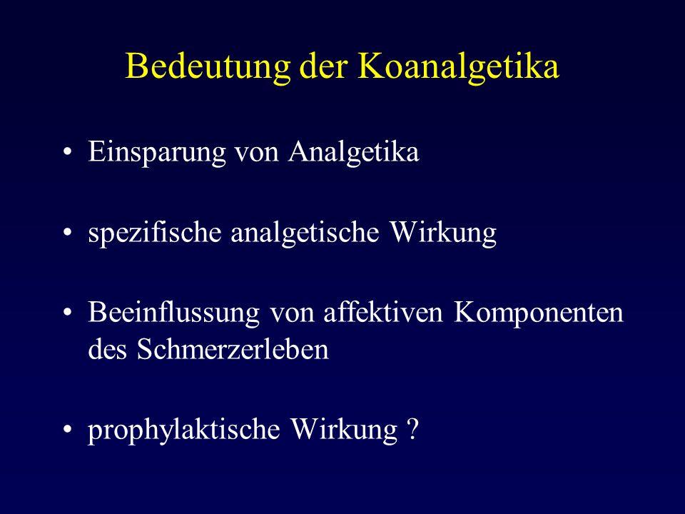 Bedeutung der Koanalgetika Einsparung von Analgetika spezifische analgetische Wirkung Beeinflussung von affektiven Komponenten des Schmerzerleben prop