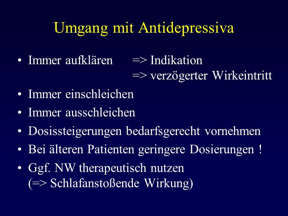 Umgang mit Antidepressiva Immer aufklären => Indikation => verzögerter Wirkeintritt Immer einschleichen Immer ausschleichen Dosissteigerungen bedarfsg