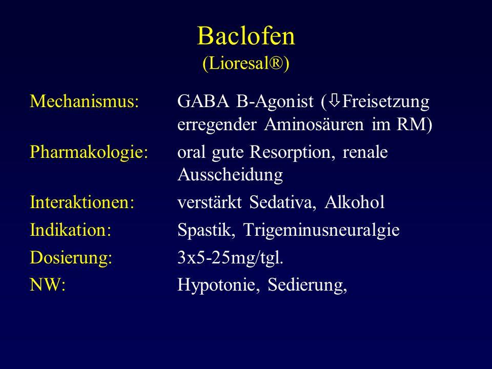 Baclofen (Lioresal®) Mechanismus: GABA B-Agonist (  Freisetzung erregender Aminosäuren im RM) Pharmakologie:oral gute Resorption, renale Ausscheidung