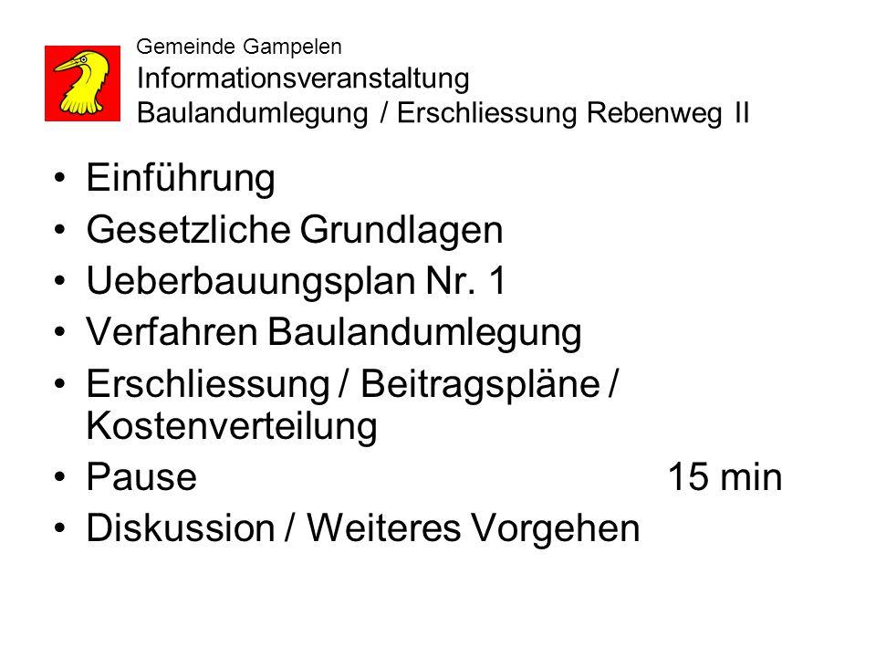Gemeinde Gampelen Informationsveranstaltung Baulandumlegung / Erschliessung Rebenweg II Einführung Gesetzliche Grundlagen Ueberbauungsplan Nr.