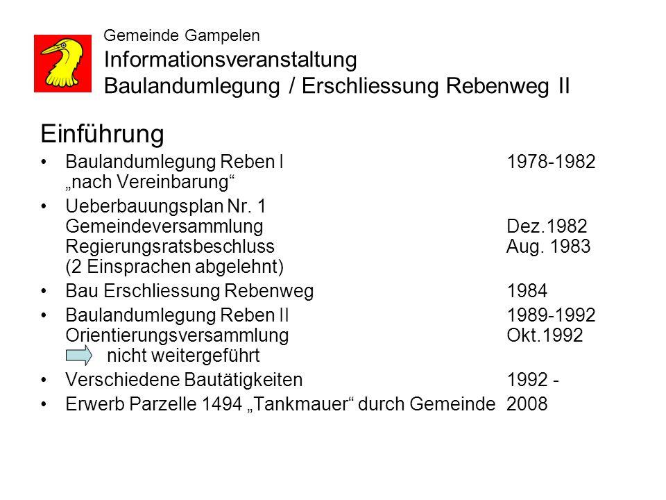 Gemeinde Gampelen Informationsveranstaltung Baulandumlegung / Erschliessung Rebenweg II Gesetzliche Grundlagen Erschliessungspflicht innert 15 Jahren..BauG Art.108 Erschliessung BauG Art.
