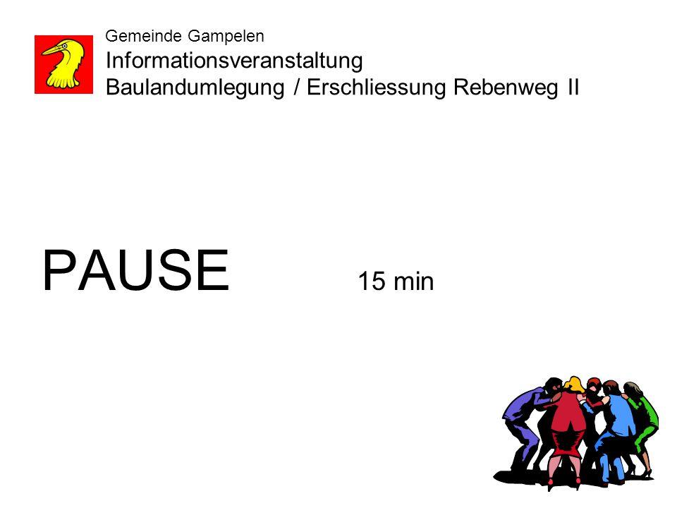 Gemeinde Gampelen Informationsveranstaltung Baulandumlegung / Erschliessung Rebenweg II PAUSE 15 min