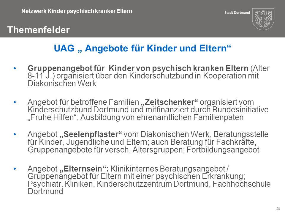 """20 Themenfelder Netzwerk Kinder psychisch kranker Eltern UAG """" Angebote für Kinder und Eltern"""" Gruppenangebot für Kinder von psychisch kranken Eltern"""