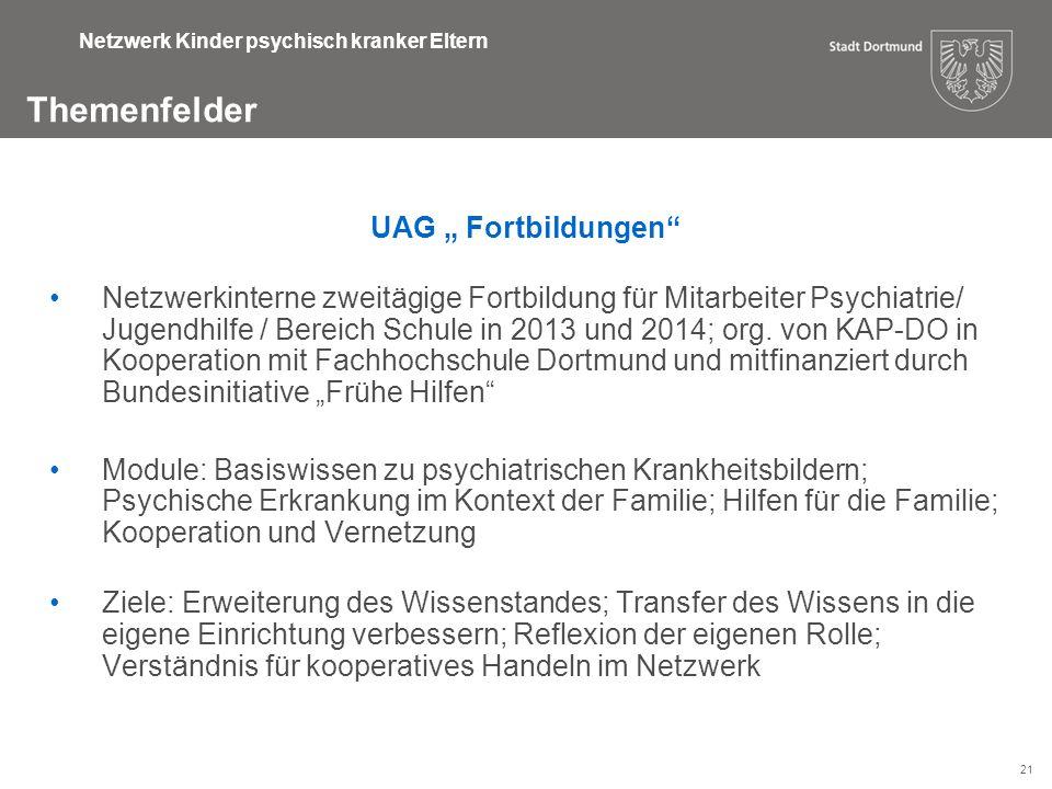 """21 Themenfelder Netzwerk Kinder psychisch kranker Eltern UAG """" Fortbildungen"""" Netzwerkinterne zweitägige Fortbildung für Mitarbeiter Psychiatrie/ Juge"""