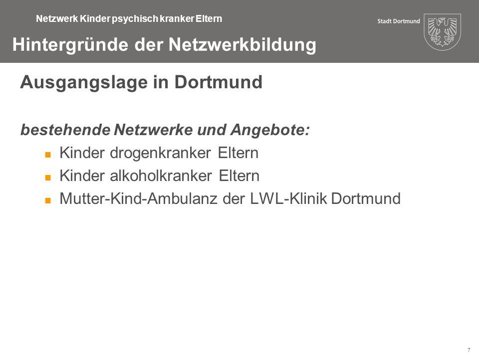 7 Hintergründe der Netzwerkbildung Ausgangslage in Dortmund bestehende Netzwerke und Angebote: Kinder drogenkranker Eltern Kinder alkoholkranker Elter