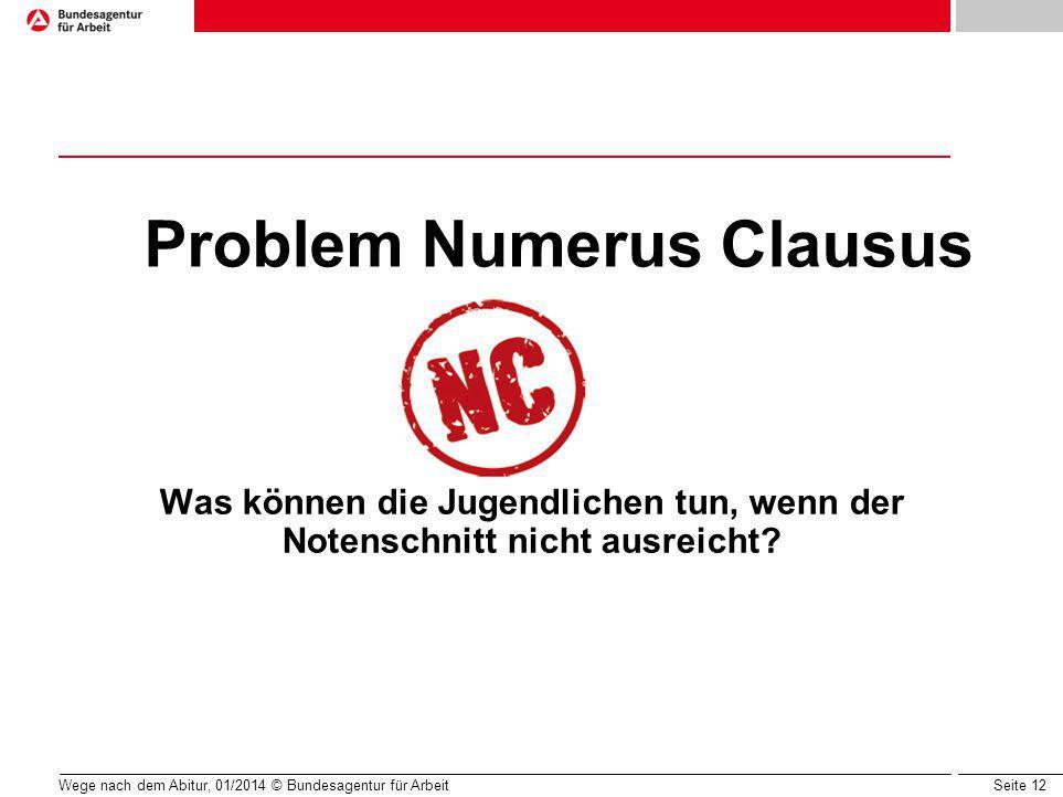Seite 12 Problem Numerus Clausus Was können die Jugendlichen tun, wenn der Notenschnitt nicht ausreicht.