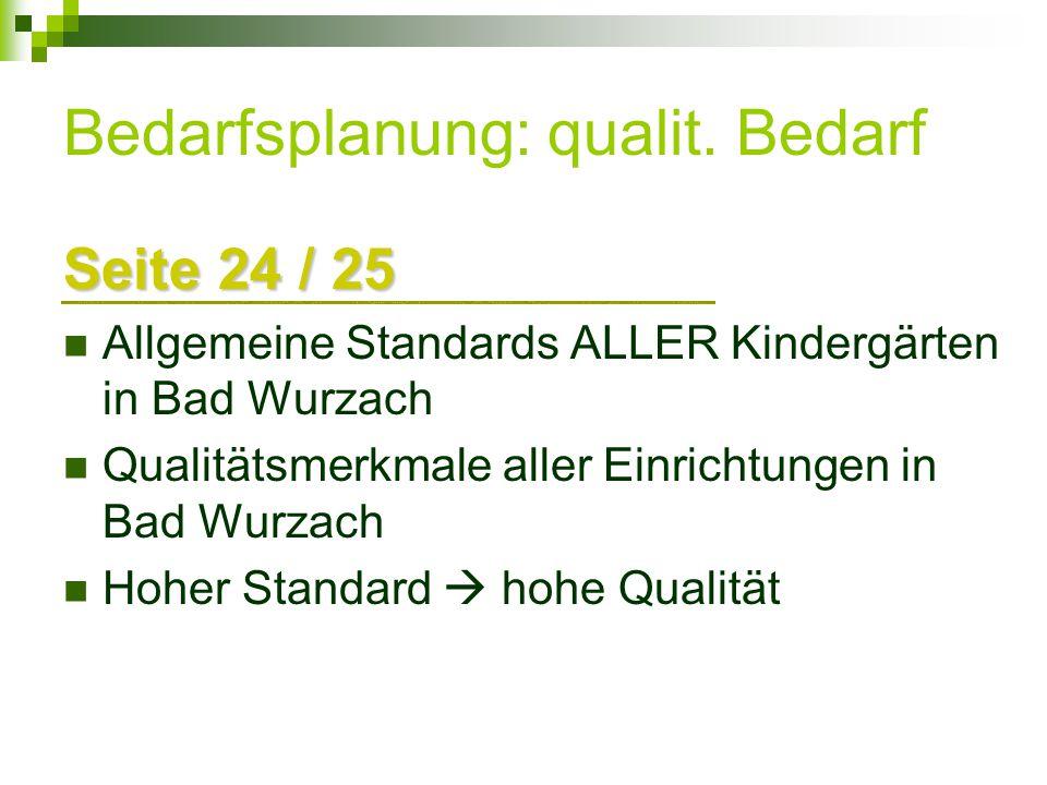 Bedarfsplanung: qualit. Bedarf Seite 24 / 25 Allgemeine Standards ALLER Kindergärten in Bad Wurzach Qualitätsmerkmale aller Einrichtungen in Bad Wurza