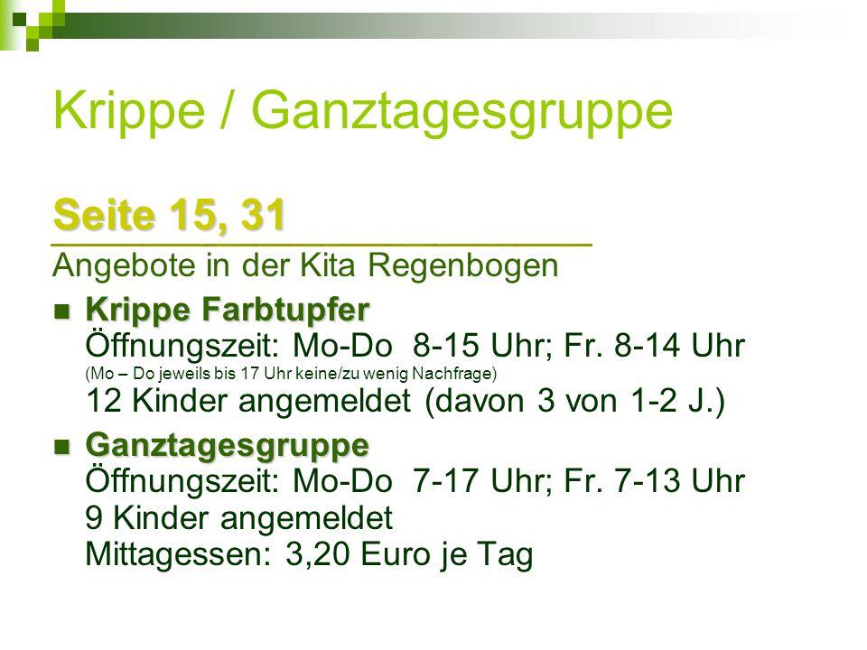 Krippe / Ganztagesgruppe Seite 15, 31 Angebote in der Kita Regenbogen Krippe Farbtupfer Krippe Farbtupfer Öffnungszeit: Mo-Do 8-15 Uhr; Fr. 8-14 Uhr (