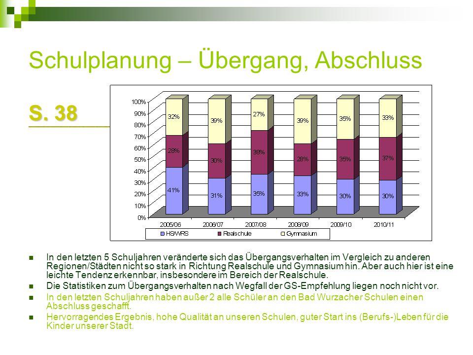 Schulplanung – Übergang, Abschluss S. 38 In den letzten 5 Schuljahren veränderte sich das Übergangsverhalten im Vergleich zu anderen Regionen/Städten