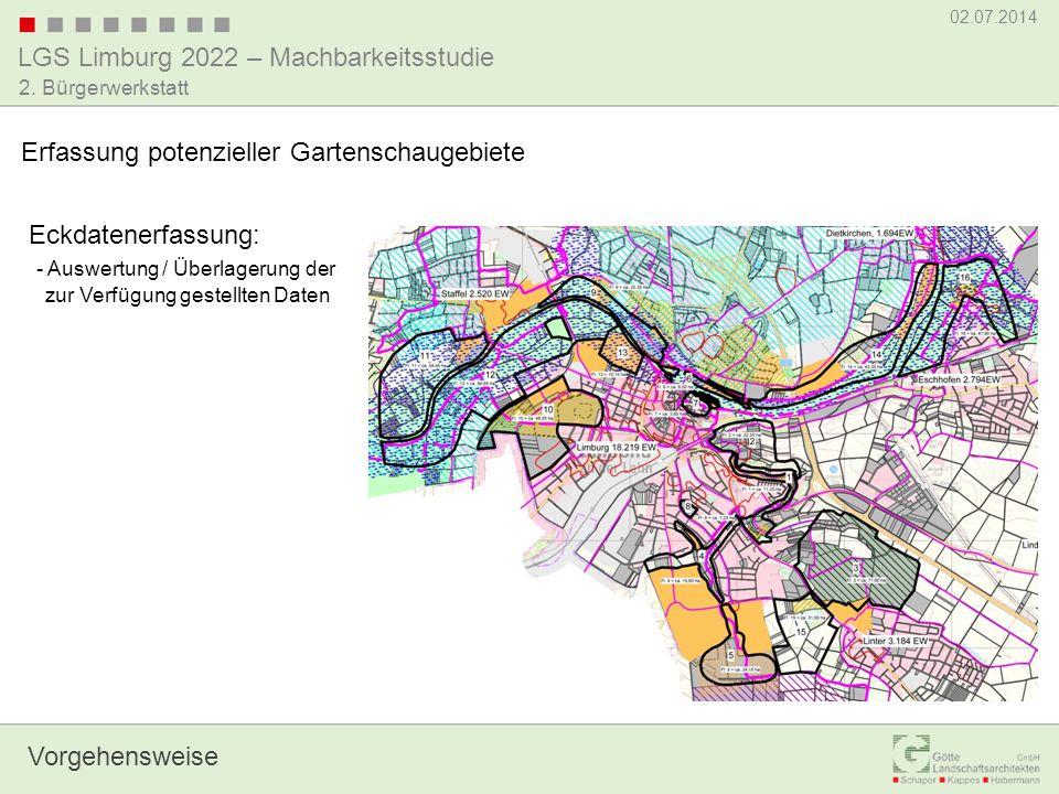 LGS Limburg 2022 – Machbarkeitsstudie 02.07.2014 2. Bürgerwerkstatt Vorgehensweise Erfassung potenzieller Gartenschaugebiete Eckdatenerfassung: - Ausw