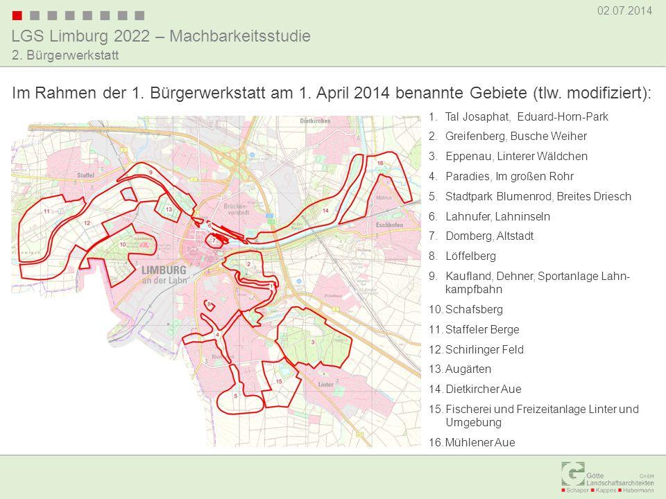 LGS Limburg 2022 – Machbarkeitsstudie 02.07.2014 2. Bürgerwerkstatt Im Rahmen der 1. Bürgerwerkstatt am 1. April 2014 benannte Gebiete (tlw. modifizie