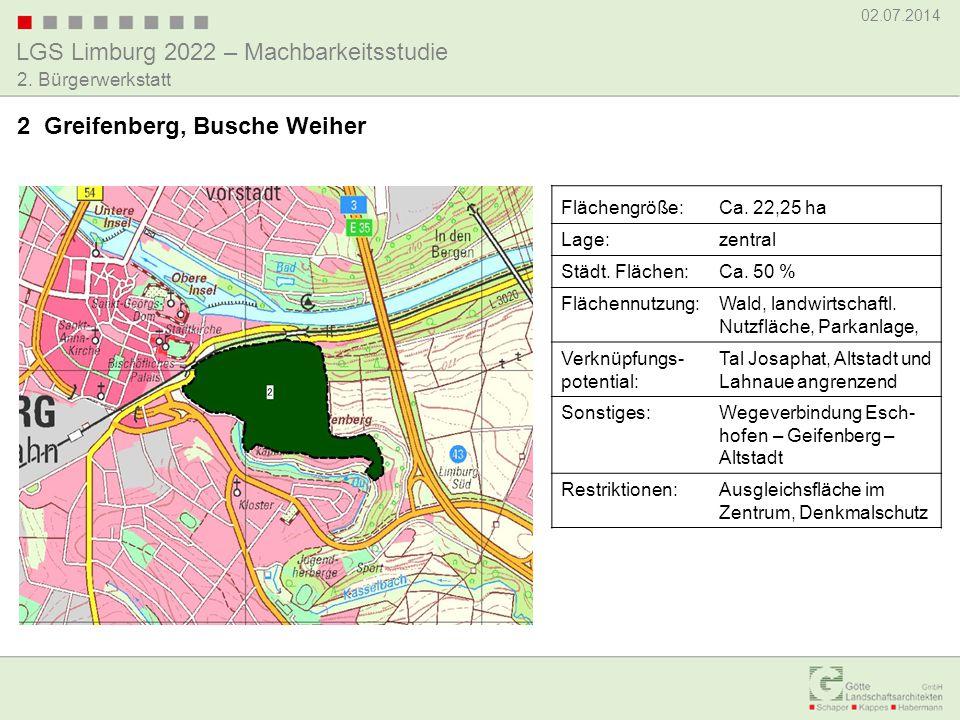 LGS Limburg 2022 – Machbarkeitsstudie 02.07.2014 2. Bürgerwerkstatt 2 Greifenberg, Busche Weiher Flächengröße:Ca. 22,25 ha Lage:zentral Städt. Flächen