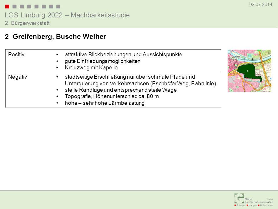 LGS Limburg 2022 – Machbarkeitsstudie 02.07.2014 2. Bürgerwerkstatt Positivattraktive Blickbeziehungen und Aussichtspunkte gute Einfriedungsmöglichkei
