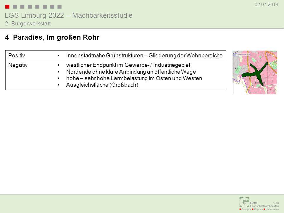 LGS Limburg 2022 – Machbarkeitsstudie 02.07.2014 2. Bürgerwerkstatt PositivInnenstadtnahe Grünstrukturen – Gliederung der Wohnbereiche Negativwestlich