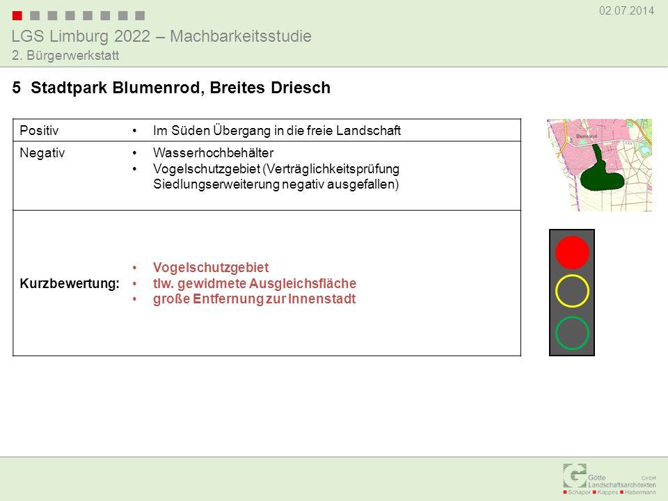 LGS Limburg 2022 – Machbarkeitsstudie 02.07.2014 2. Bürgerwerkstatt PositivIm Süden Übergang in die freie Landschaft NegativWasserhochbehälter Vogelsc