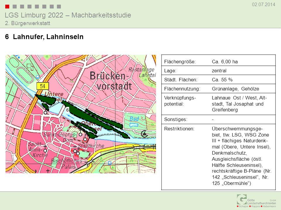 LGS Limburg 2022 – Machbarkeitsstudie 02.07.2014 2. Bürgerwerkstatt 6 Lahnufer, Lahninseln Flächengröße:Ca. 6,00 ha Lage:zentral Städt. Flächen:Ca. 55