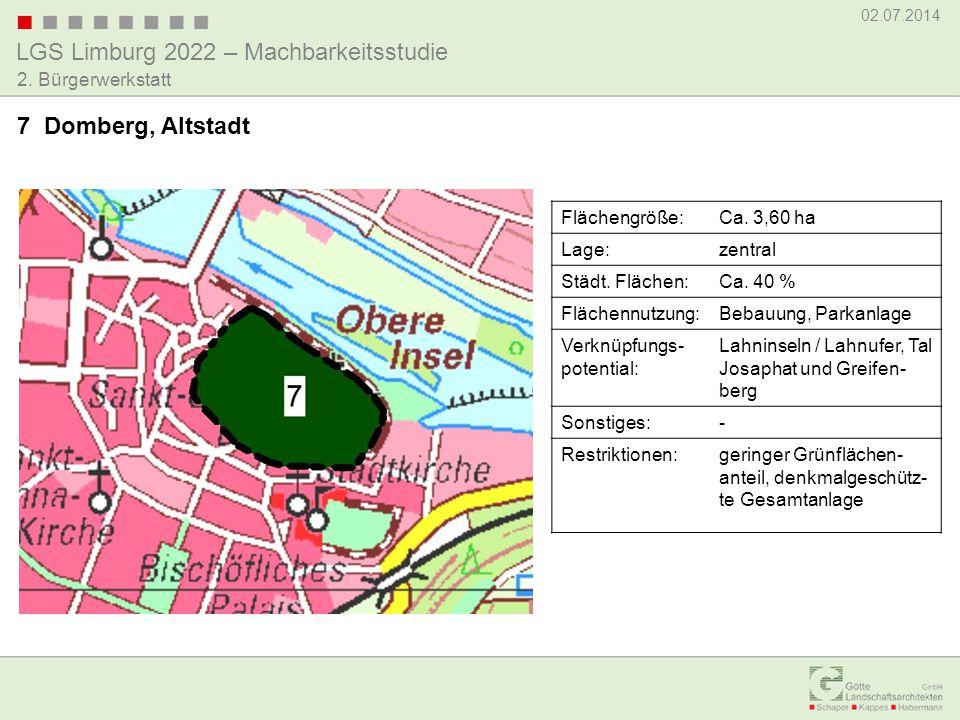 LGS Limburg 2022 – Machbarkeitsstudie 02.07.2014 2. Bürgerwerkstatt 7 Domberg, Altstadt Flächengröße:Ca. 3,60 ha Lage:zentral Städt. Flächen:Ca. 40 %