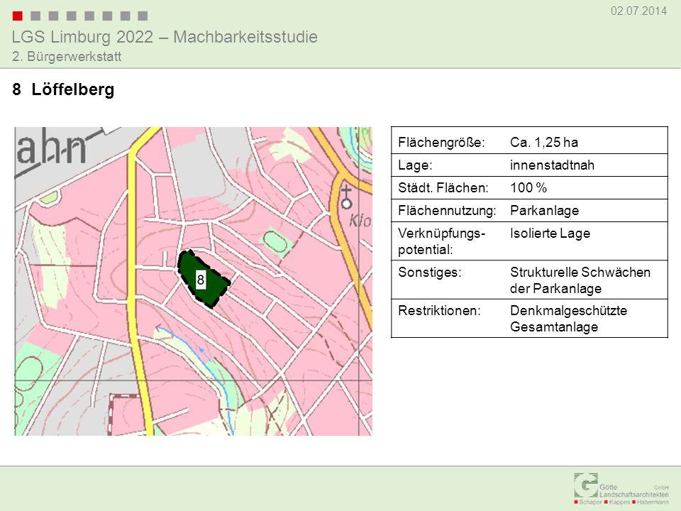 LGS Limburg 2022 – Machbarkeitsstudie 02.07.2014 2. Bürgerwerkstatt 8 Löffelberg Flächengröße:Ca. 1,25 ha Lage:innenstadtnah Städt. Flächen:100 % Fläc