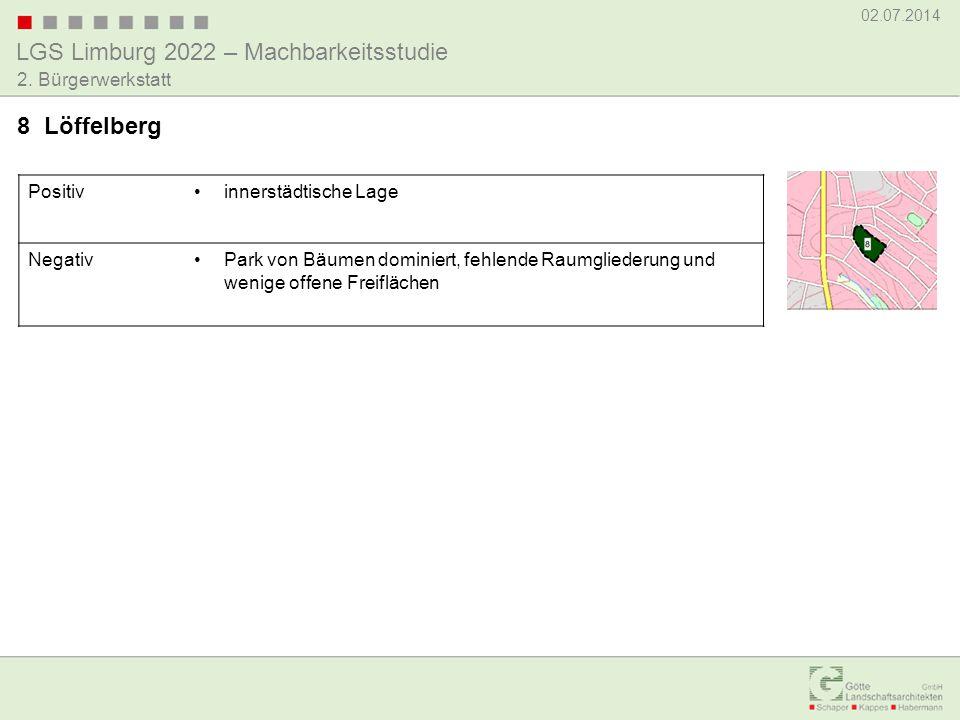 LGS Limburg 2022 – Machbarkeitsstudie 02.07.2014 2. Bürgerwerkstatt Positivinnerstädtische Lage NegativPark von Bäumen dominiert, fehlende Raumglieder