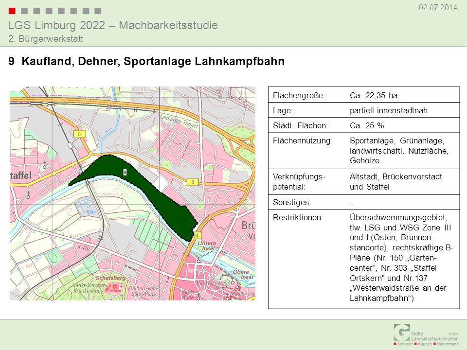 LGS Limburg 2022 – Machbarkeitsstudie 02.07.2014 2. Bürgerwerkstatt 9 Kaufland, Dehner, Sportanlage Lahnkampfbahn Flächengröße:Ca. 22,35 ha Lage:parti