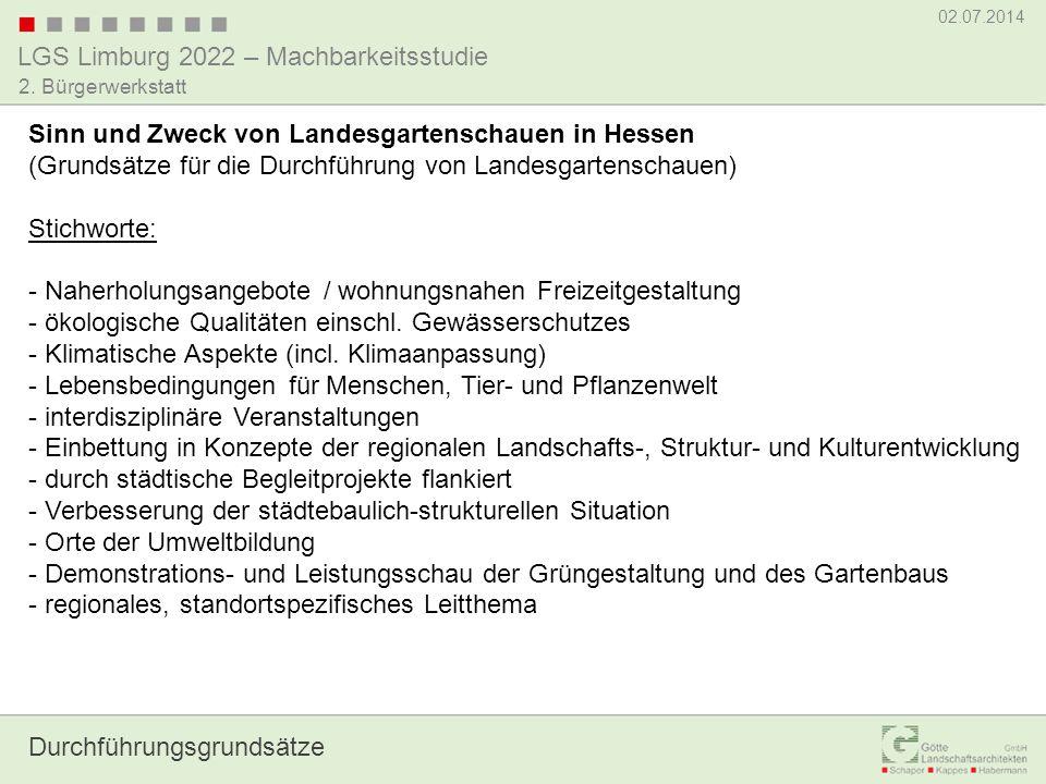 LGS Limburg 2022 – Machbarkeitsstudie 02.07.2014 2. Bürgerwerkstatt Fragen / Diskussion